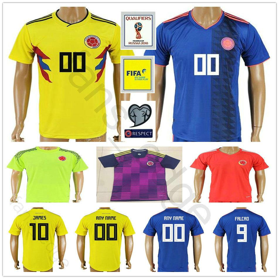 1e080ea959d 2019 2018 World Cup National Colombia Soccer Jersey 10 JAMES 9 FALCAO 11  CUADRADO 8 AGUILAR 13 GUARIN SANCHEZ BACCA Custom Football Shirt From  Fans_edge, ...