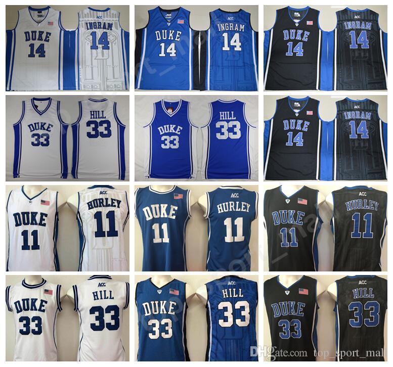 f0e9c9ef25ac 2019 College Duke Blue Devils Jerseys Basketball Brandon Ingram 14 Bobby  Hurley 11 Grant Hill University Jersey 33 Uniform Blue Team Black White  From ...