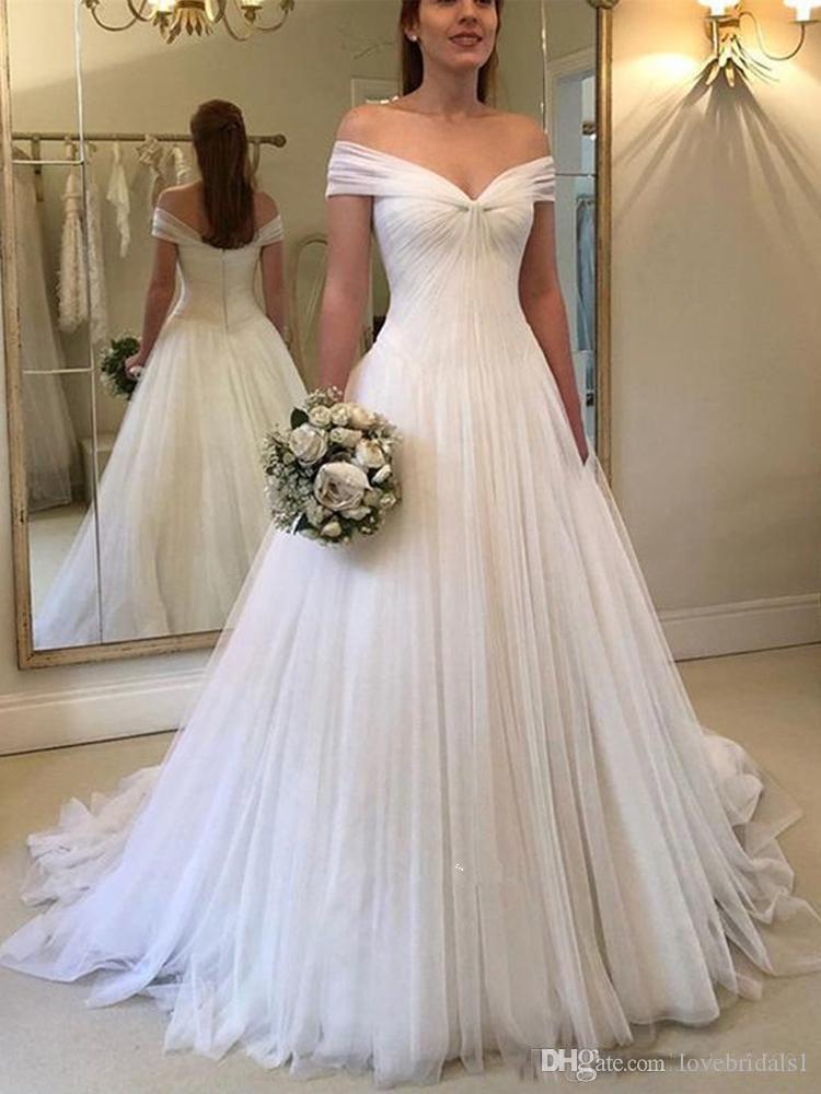 00d6eeacc9 Simple A Line Beach Wedding Dresses Off Shoulder Tulle Pleats Floor Length  Cheap Vestido Plus Szie Wedding Bridal Gowns Cheap Plus Size Wedding Dress  A Line ...