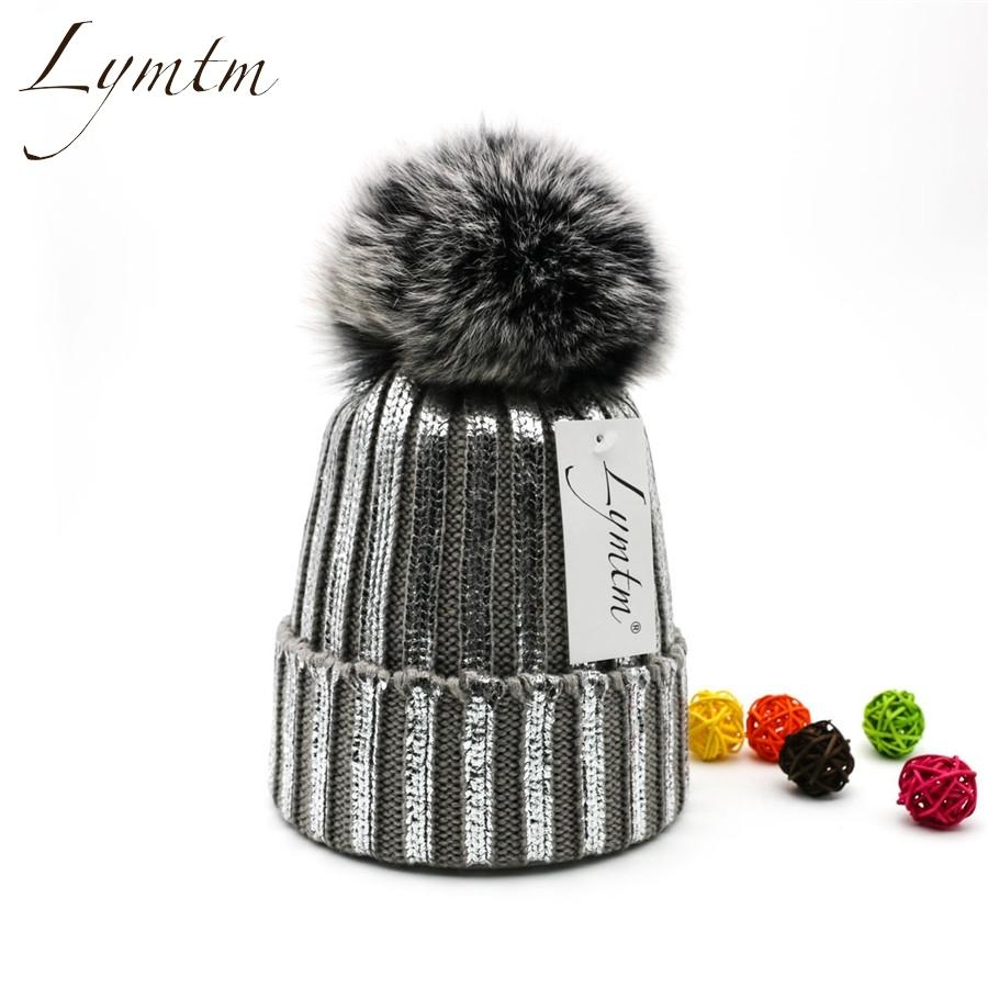 ef3ab84ec33e24 Lymtm 2018 Silver Bright Color Knit Cotton Beanies Women Big Fox Fur  PomPoms Skullies Caps Gold Winter Warm High Quanlity Hat D18110102 Beanie  Hats Beanie ...