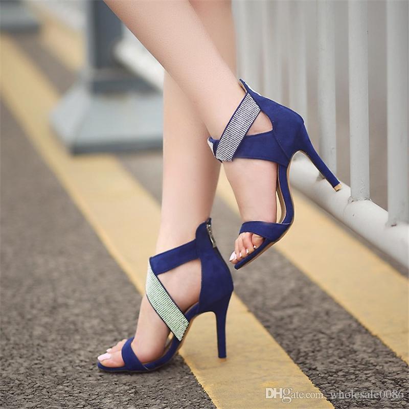 Модные женские лодыжки крест горный хрусталь на молнии из синтетической кожи сандалии туфли на каблуках S771 размер США 4 -10,5