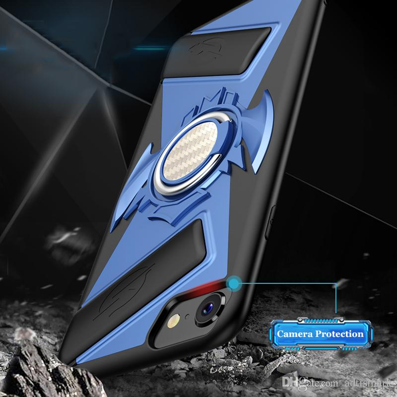 Multifunction Game Handle Phone Cases For iPhone X 8 7 6 6S Plus Cover Soft Silicon + PC Shockproof Case + Finger Ring Kickstand