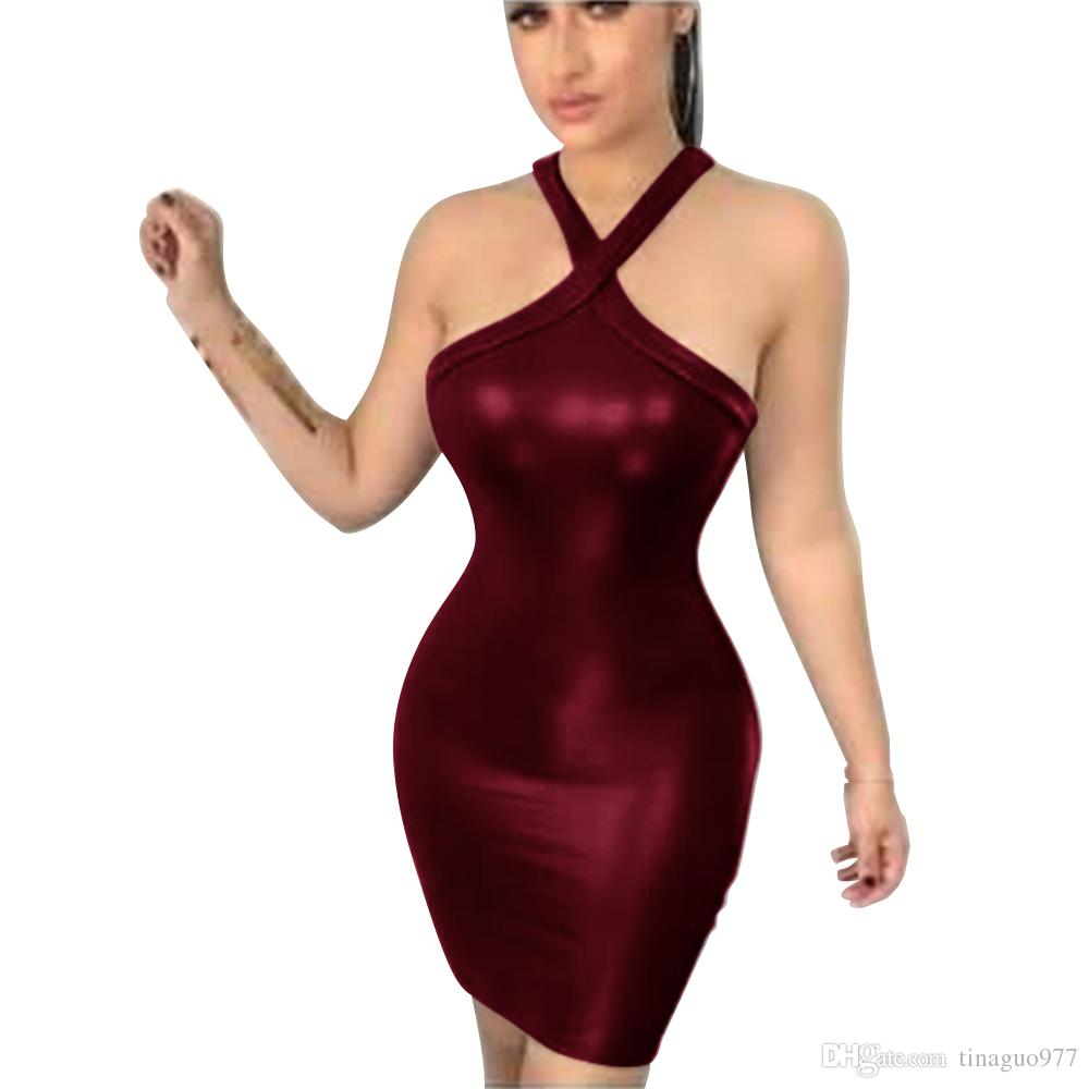 afe1e31508dd80 2019 Faux Leather Night Club Dresses Cross Front Bodycon Dresses Sleeveless  Hollow Out Cocktail Party Dresses S XL From Tinaguo977