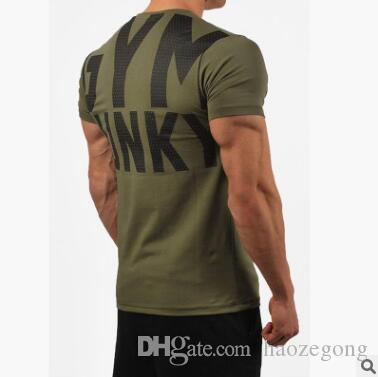 d394e1d7ba7 New Trend Compression Men Running Shirts Short Sleeve Printed Letter Sports  T Shirts Gym Clothing Breathable Fitness Tops Male Sportswear Crazy T Shirt  ...