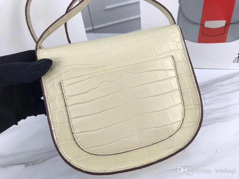 Trend ladies imported crocodile pattern calfskin with sheepskin shoulder slung saddle bag trumpet leather female Cross Body