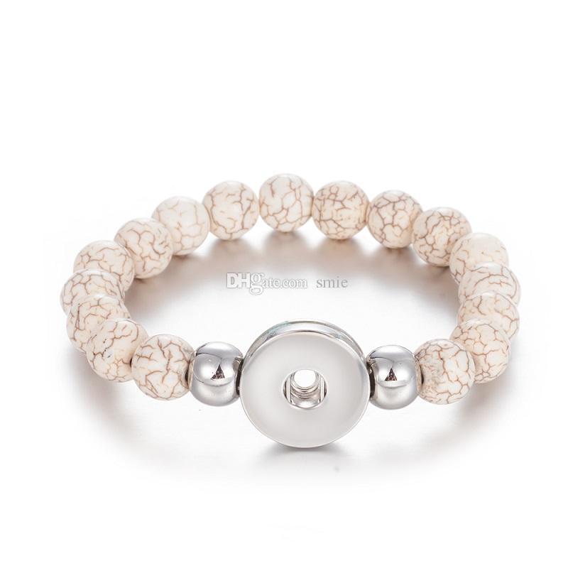 NOOSA Imitieren Türkis Perle Perlen Armbänder Weibliche 18mm Snap Armbänder Armreifen Für Frauen Druckknöpfe Armband