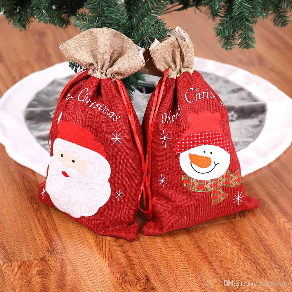 cute christmas gift bags santa claus snowman big drawstring bag kids banquet xmas gifts holders bag home party christmas decorations decorations for