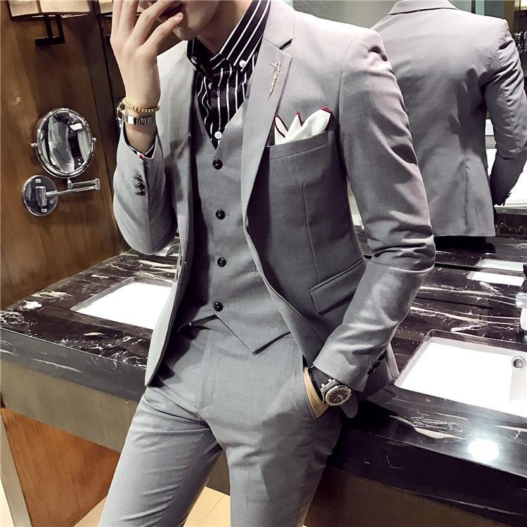 66d6a6d15ea2c Satın Al İnce Takım Elbise Kore Versiyonu Genç Erkekler Yakışıklı Küçük Üç  Set Damat Gelinlik, $143.77 | DHgate.Com'da