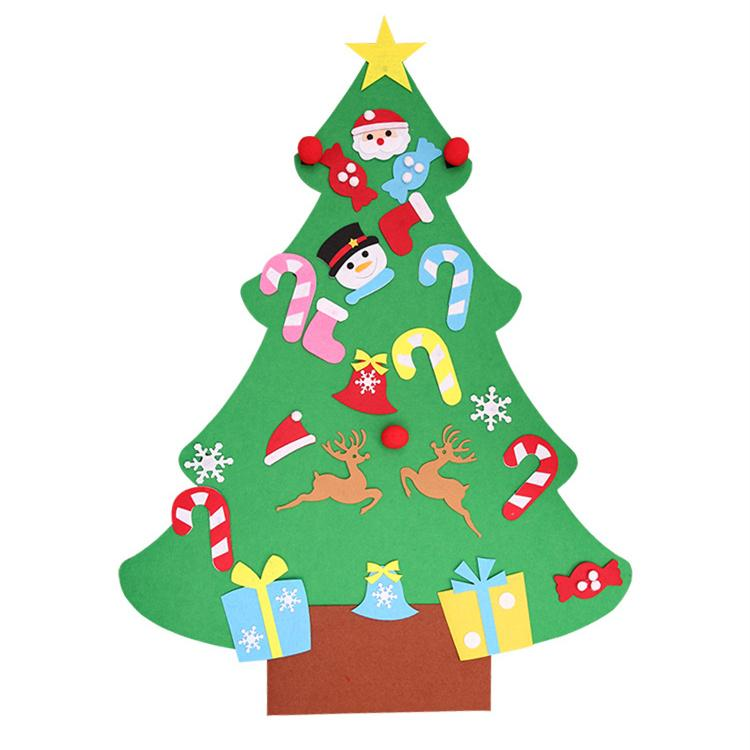 Diy Felt Christmas Tree New Year Gifts Kids Toys Artificial Tree Wall Hanging Ornaments Christmas Decoration For Home Le172