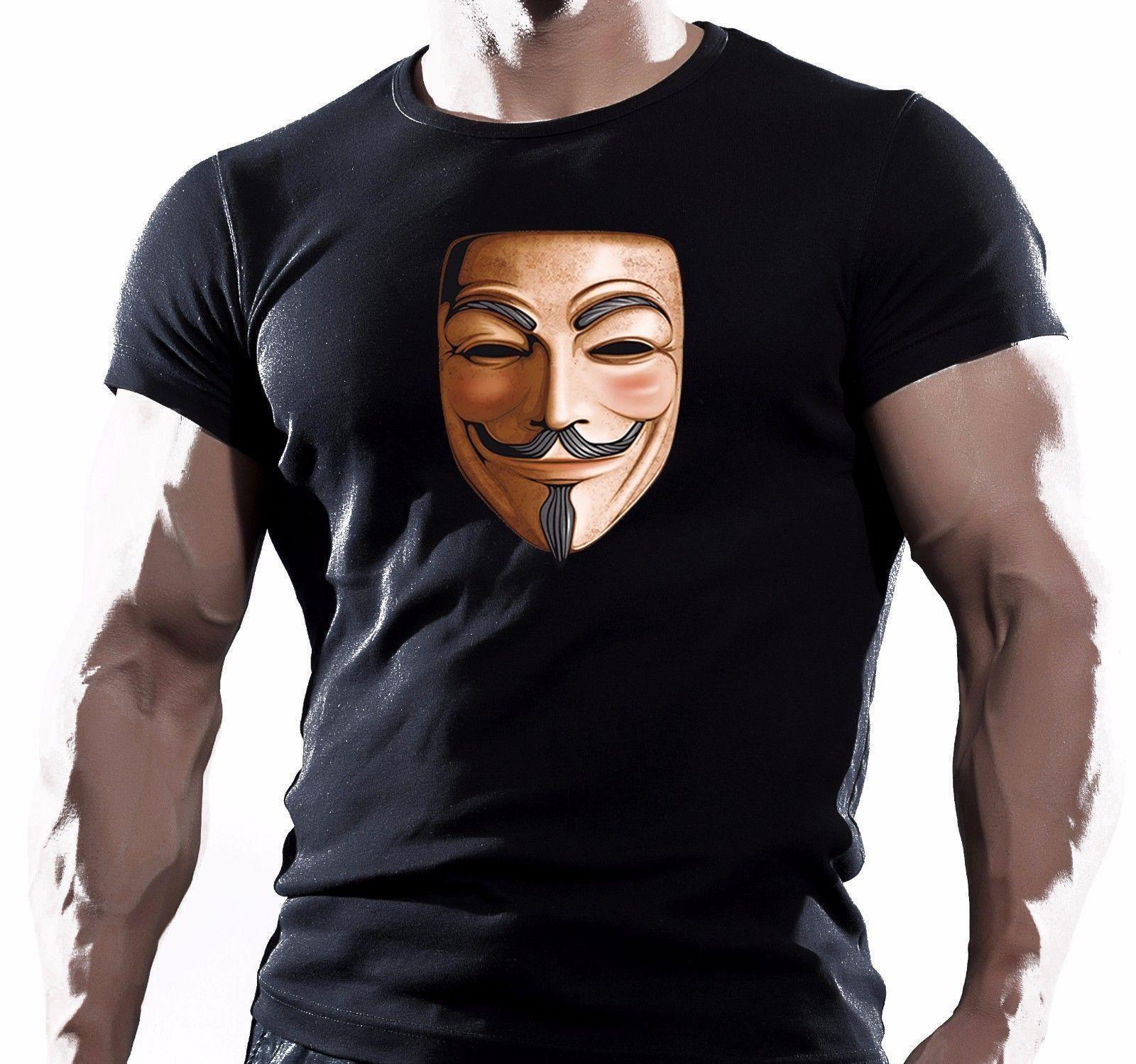 128fb90e220 Disobey Anonymous Mec Masque Fawkes Pirates Fawke Homme Coton Haut T Shirt  Men T Shirt Print Cotton Short Sleeve T Shirt