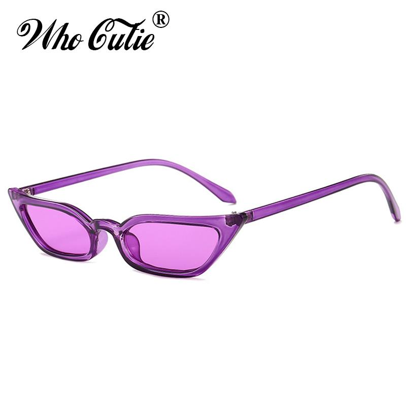 6077d3f2db0 WHO CUTIE 2018 Small Rectangular Sunglasses Cat Eye Women Brand Design  Vintage Crystal Purple Narrow Frame 90S Sun Glasses 519B Sunglasses Case  Knockaround ...