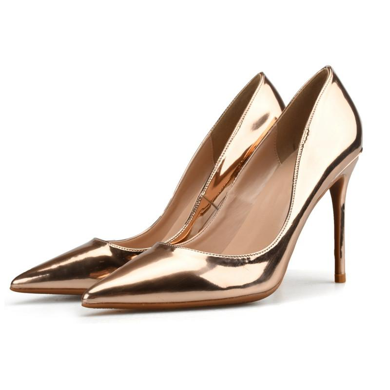 2018 Women Gold Pump 6 8 10CM Stiletto High Heel Patent Leather Wedding  Dress Shoes Pointed Toe Classic Pumps Champagne Silver Womens Shoes Shoes  For Women ... 4af65e5e1