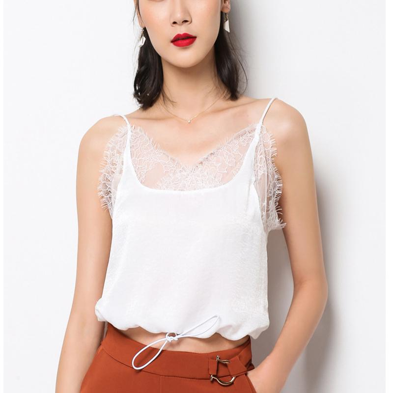 dd9437b2263 2019 Women Summer Lace Vest Tops Sexy Halter Ladies Tank Tops Polyester Peach  Skin Sleeveless Girls Camisole White Black Plus Size From Sizhu