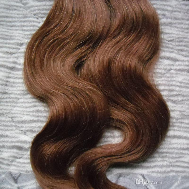 """6 Medium Brown Tape In None Remy Human Hair Adhesive Extension 12"""" 14"""" 16"""" 18"""" 20"""" 22"""" 24"""" 26"""" 100g Body Wave Skin Weft Hair"""