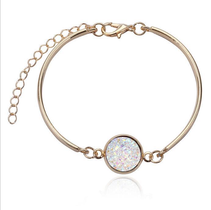 Pulseira Vintage Natural Geode de pedra jóias de prata de ouro Bangles amor pelas mulheres Jewelry Partido Acessório casamento