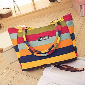 Ladies Single Shoulder Beach Bags Waterproof Canvas Zipper Foldable Floral Printed Stirp Shopping Bag Tote Women