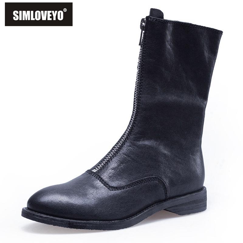 6ebc29ee8 Compre SIMLOVEYO Zapatos De Mujer Mujer Botas De Media Pierna Retro Punta  Redonda Pisos Zapatos Cremallera Cool Vaquero Negro Blanco Vino Botas Mujer  Venta ...