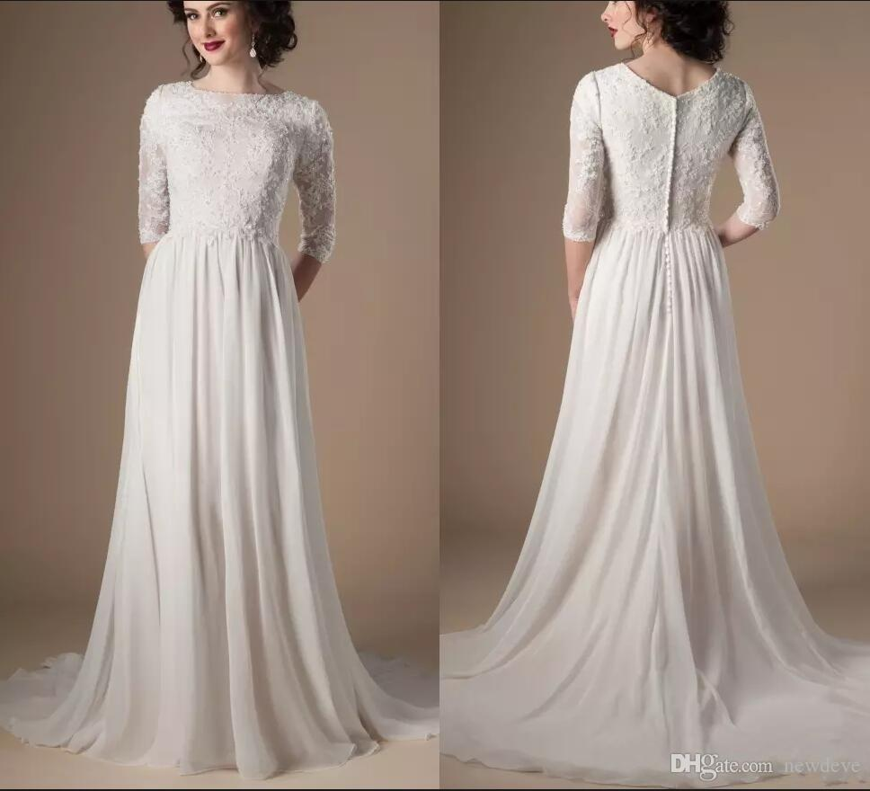 Discount 2018 Modest Wedding Dresses 3 4 Sleeves Beaded