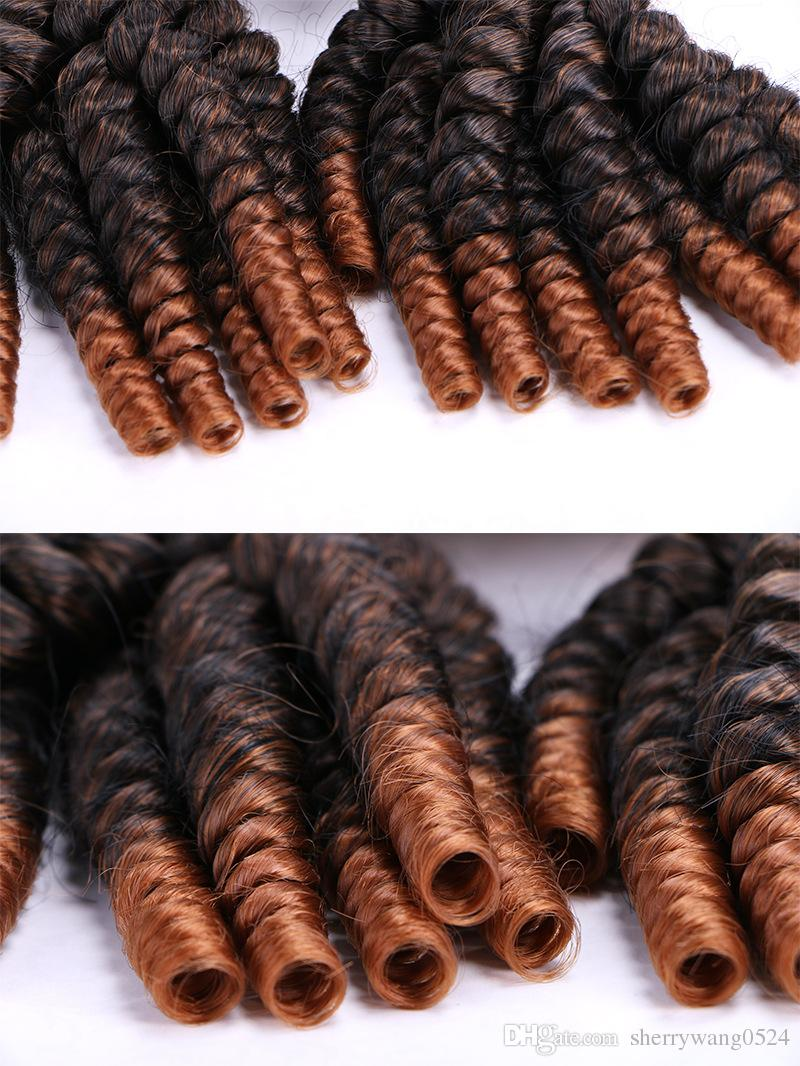Ombre Aunty Funmi Synthetic Hair Weaves 4 Bundles Two Tone T1B/#30 Short Hair Weft Extensions Funmi Hair Weaves Bouncy Spiral Romance Curls