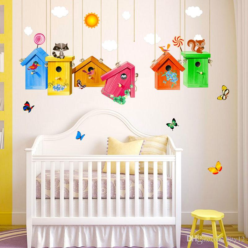 New Colorful Birdcage Wall Stickers Art kindergarten Wall Decal For Home Living children Room