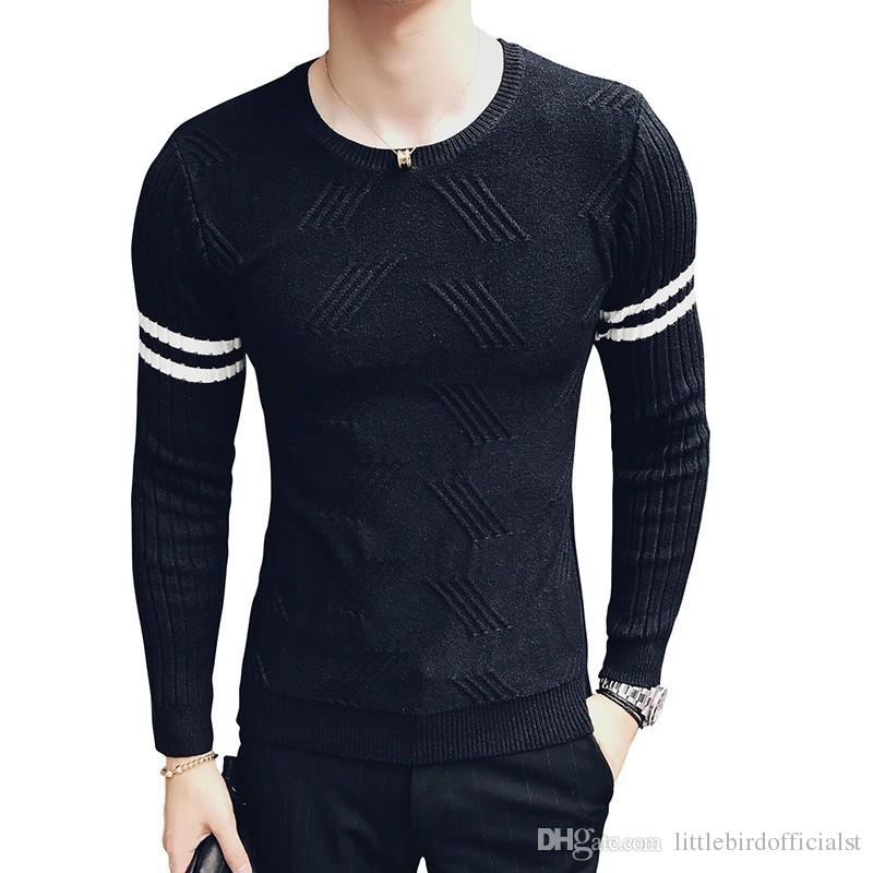 c268f96e458c Compre Manga Stripe Sweater Men Pullover Homens Coreano Moda Vestuário Camisolas  Homens Slim Fit Camisola Hombre Suéter Masculino De Littlebirdofficialst,  ...