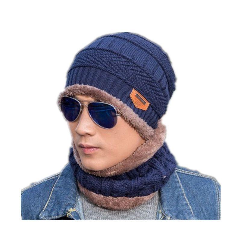 23e6b7cb0fe1e 2019 2017 Thicken Neck Warmer Winter Hat Scarf Set Fleece Knitted Hats    Caps Men Women Skullies Beanie Outdoor Ski Mask Balaclava From Towork