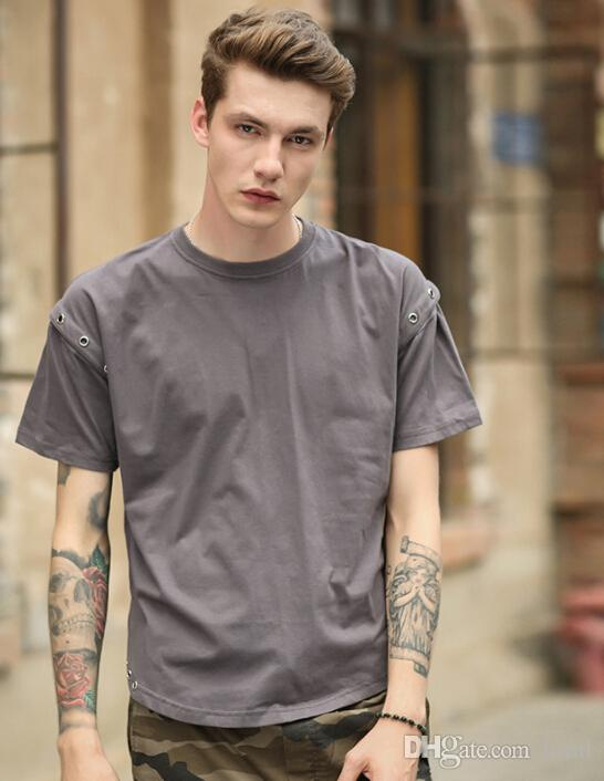 Men Tees High Street Casual Split Tshirts Summer Fashion Crew Neck Tees Male Short Sleeved Tops