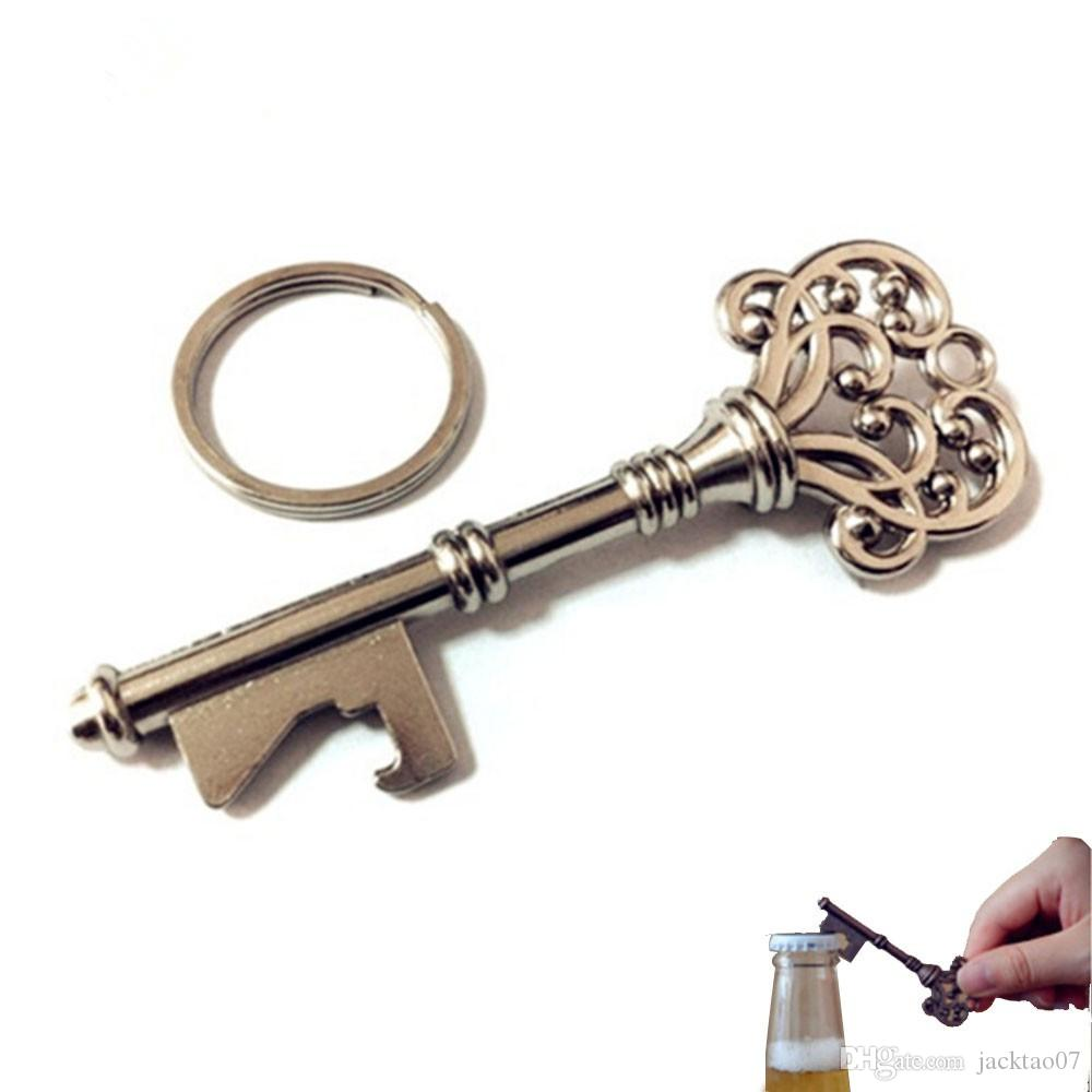2018 Visual Touch Key Shape Beer Bottle Opener Vintage Retro Keychain Opener Key Ring Metal Bronze/Silver Portable Gifts