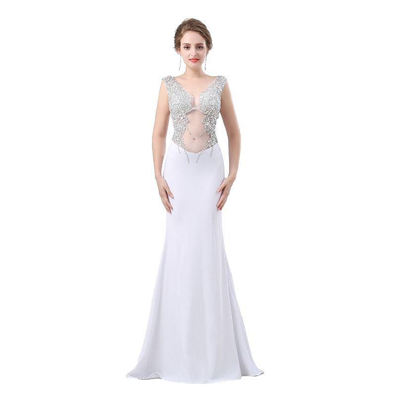 69774beb1b Compre Vestido De Fiesta De Noche Blanco Largo 2019 Sirena Sexy Elegante  Con Cuello En V Sin Respaldo Con Cuentas Cristalino De Las Mujeres Vestido  De ...
