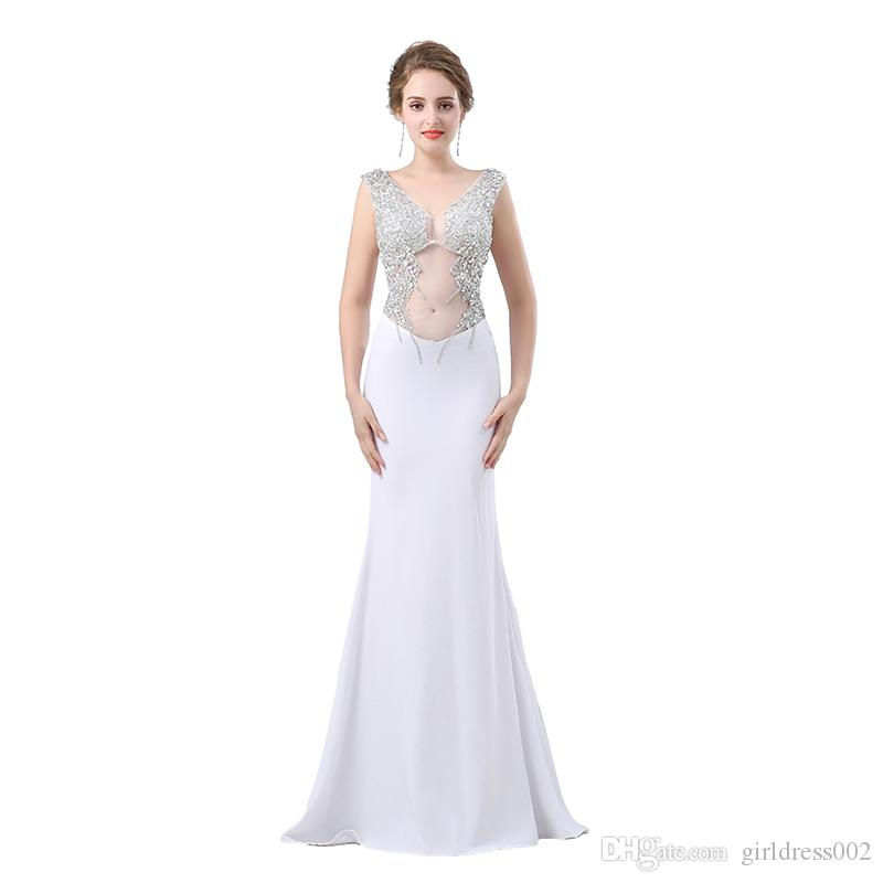 White Evening Prom Dress Long 2017 Mermaid Sexy Elegant V Neck Backless  Beaded Crystal Women Formal Evening Party Gown Robe De Soire Blue Prom Dress  ... 3b7253cebccf