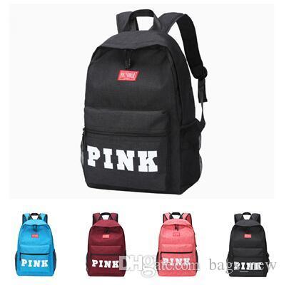 7d8217c39b66 PINK Letter Backpacks 2018 Student Fashion Large Female Travel Backpack For  School Supplies Girls Casual Fabric Shoulder Bag Women Backpack PINK Bag  Travel ...