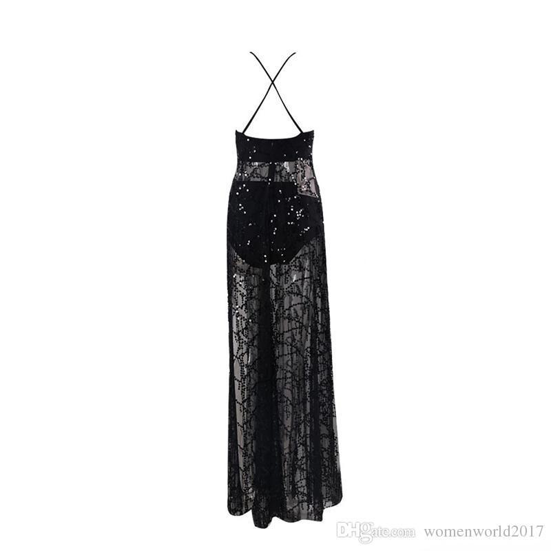 Summer Sexy Maxi Slip Dresses Sequins Tassels Long Cami Dress Women's Black Pink Sequined Split Evening Cocktail Dress Mesh Clubwear
