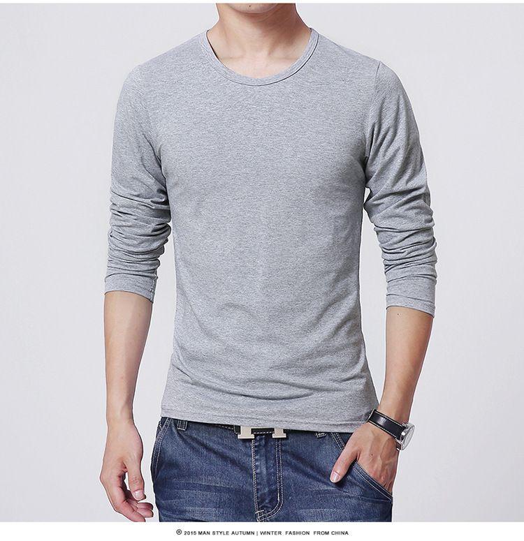 2017 men's T shirt 3 Basic colors Long Sleeve Slim T-shirt young men Pure color tee shirt 3XL size O neck