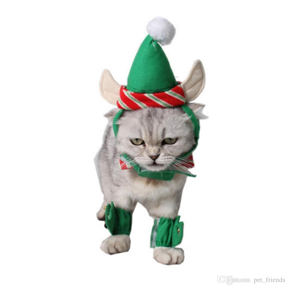 Pet Hat Dog Cat Christmas Green Hat + Necklace + Foot Cover Docor ...