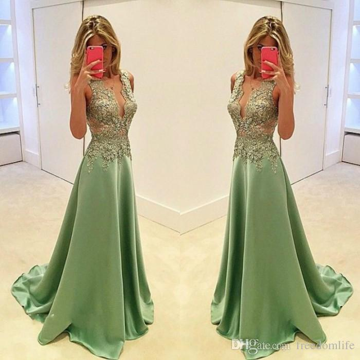 1dce1b811e3 Sexy Deep V Neck Lime Green Prom Dresses Satin Lace Applique Long Formal  Special Occasion Dress Evening Wear Party Gown Plus Size Maxi Prom Dress  Missguided ...