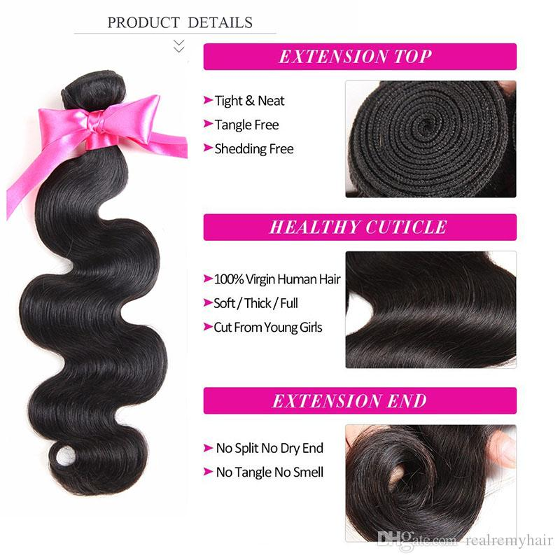 Brazilian Human Hair 3 Bundles With Lace Closure Unprocessed Brazilian Body Wave Remy Human Hair Weave Deals With Closure