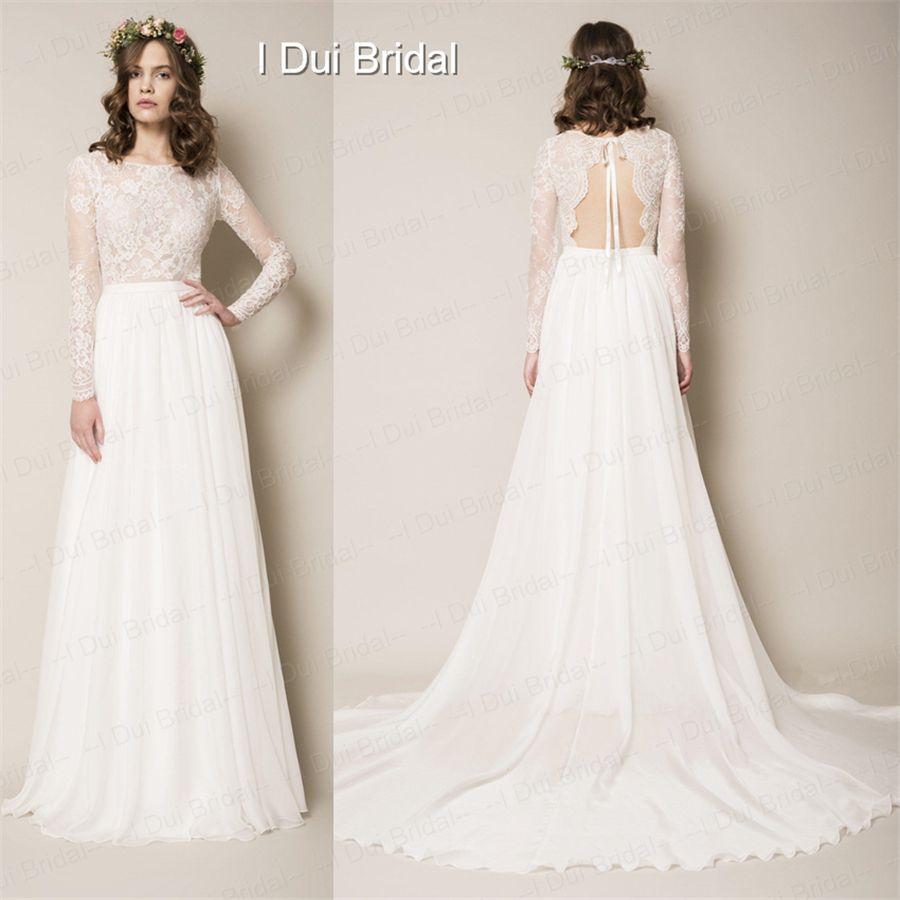 Discount Long Sleeve Lace Top Chiffon Skirt A Line Wedding Dress ...