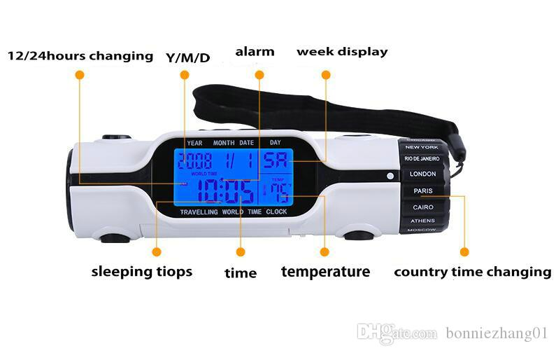 السفر التوقيت العالمي مجموعة الرقمية LCD الخلفية ساعة منبه مع LED مضيا الشعلة ميزان الحرارة التقويم متعدد الوظائف