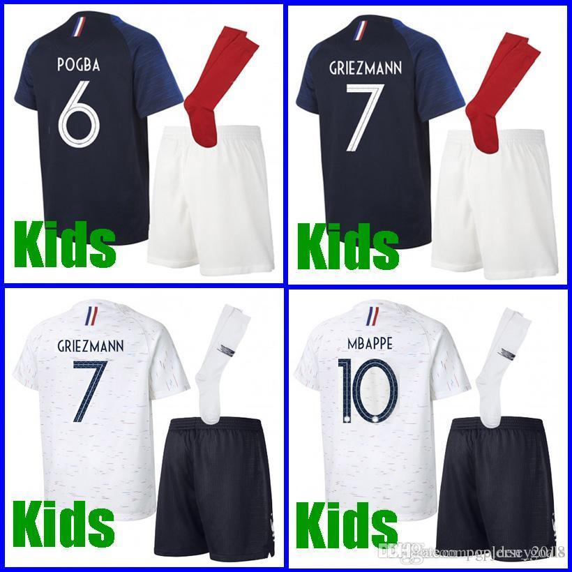 Thailand GRIEZMANN MBAPPE Kids Soccer Jerseys World Cup 2018 POGBA UMTITI  LACAZETTE GIROUD MATUIDI Football Kits Soccer Uniform Online with   15.31 Piece on ... c6b6f6027