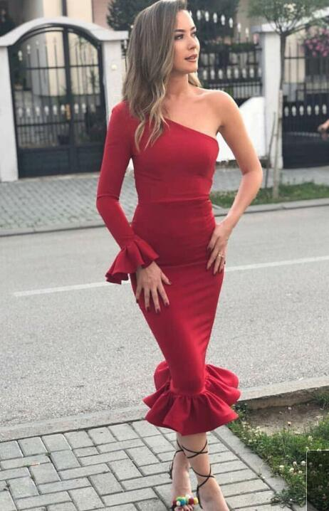Evening Dress Long Dress Red Column Long Sleeve One_Shoulder Elastic Satin Ruffles Prom Dresses CockTail Party Dresses Evening Dresses