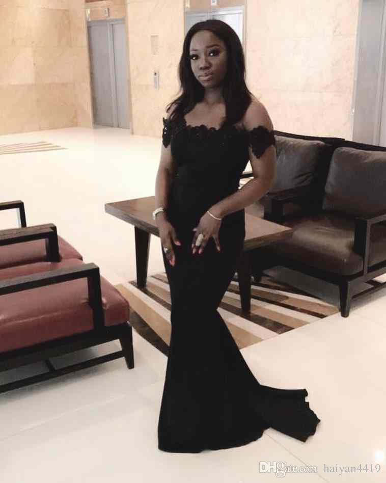 2018 Black Country African Mermaid 숄더 레이스 Applique Sweep Train Welde Guest Maid of Honor 공식 가운