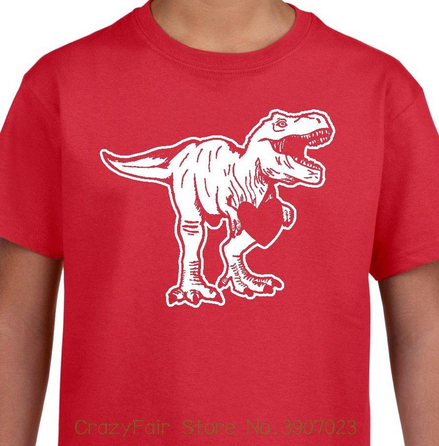 Dino Love Youth T Shirt Valentines Day T Rex Funny Boys Girls Kids