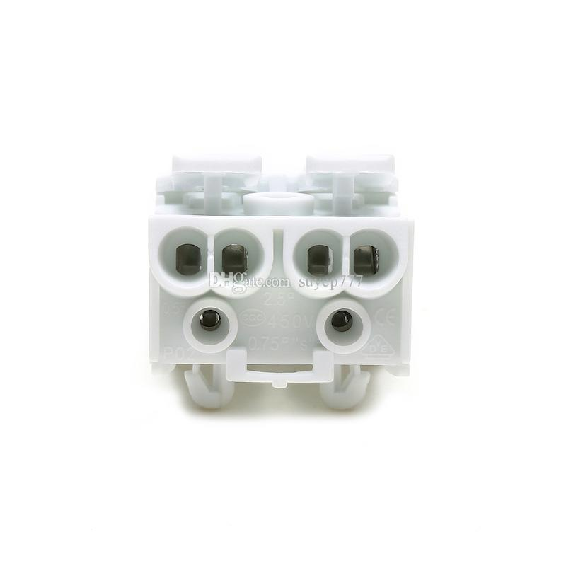 Spring Terminal Block Quick Lamp Wire Connector Electrical Cable Clamp Free Screw Plug-Out Type Pitch 923 P02 white