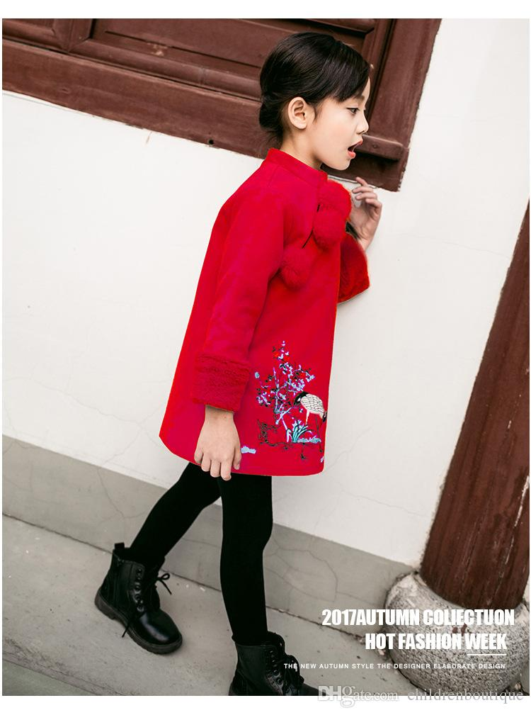 Vestidos de niñas Año Nuevo China Cheongsam Estilo grueso Cálido Año Nuevo Niños Bebé Manga larga Princesa Vestidos para 2-8 años es