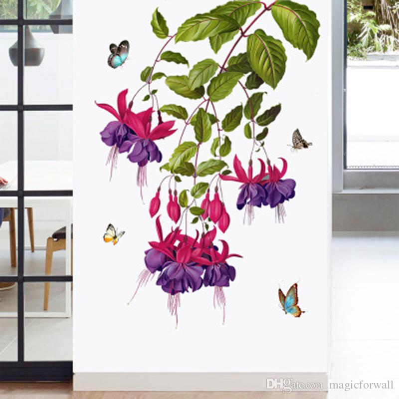 Butterfly Orchid Flower Wall Stickers Door Window Glass Decor Wallpaper Poster Art Hallway Decoration Graphics Cabinet Refrigerators Decals Quotes Stickers For Walls Quotes Wall Stickers From Magicforwall 5 28 Dhgate Com