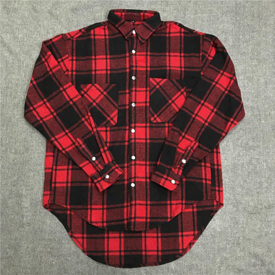 wholesale dealer b4a85 bffea Camicia a quadri in flanella scozzese spessa vestita in stile hip-hop slim  fit nero / rosso Spedizione gratuita
