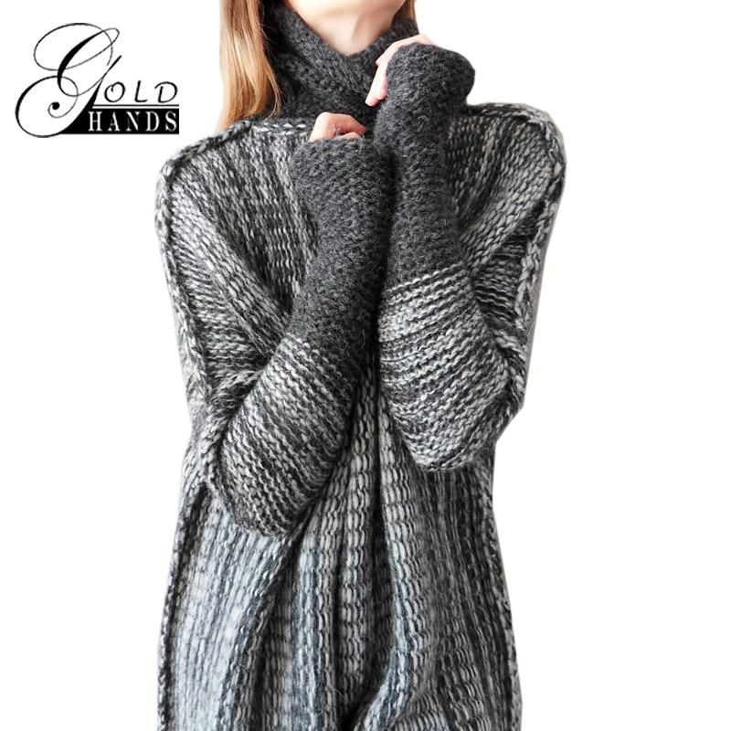 42742783868c2 2019 High Necked Bat Sleeve Winter Sleeve Color Contrast Hollow Hedging In  The Long Sweater Simple Stylish Stitching Long Casual Loose Knit Shirt From  ...