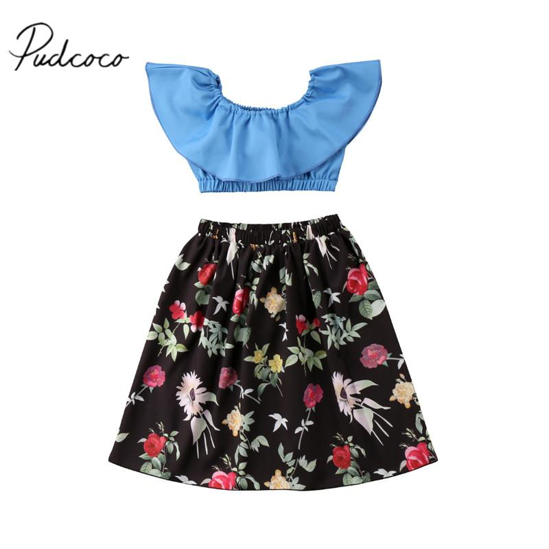 2018 2018 Brand New Toddler Infant Kids Girl Sundress Holiday Birthday Party Prom Sunsuit Crop Shirt Tops Floral Skirts Outfit From Xunqian