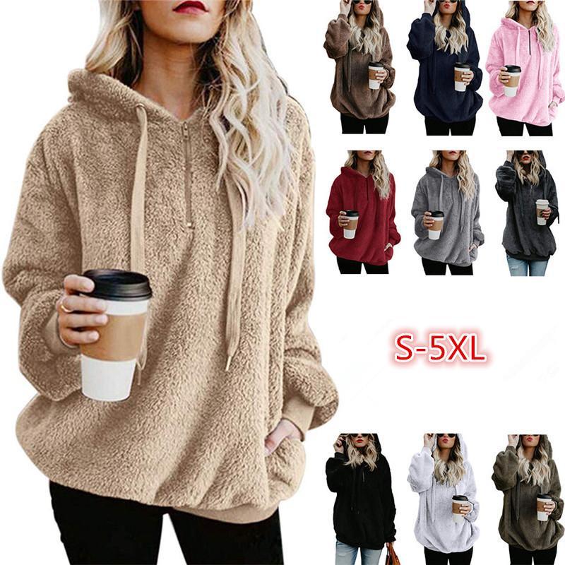 8f5e1aea8 Plus Size Sherpa Pullover Women Fleece Hoodies Sweatshirts Oversized  Sweater Loose Shirts Winter Autumn Hoodie Coat Hooded Outwear Jacket