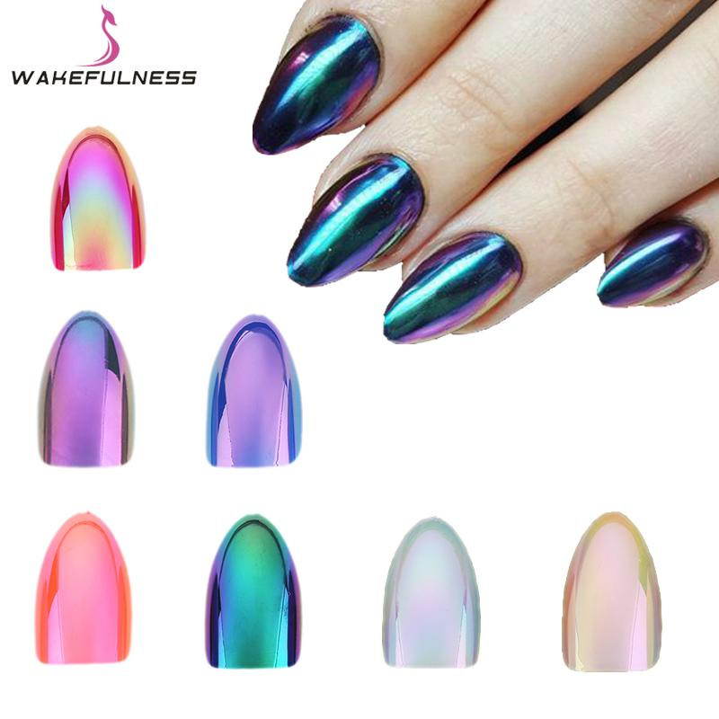 Wakefulness Holographic Stiletto False Nails Tips Mirror Chrome ...